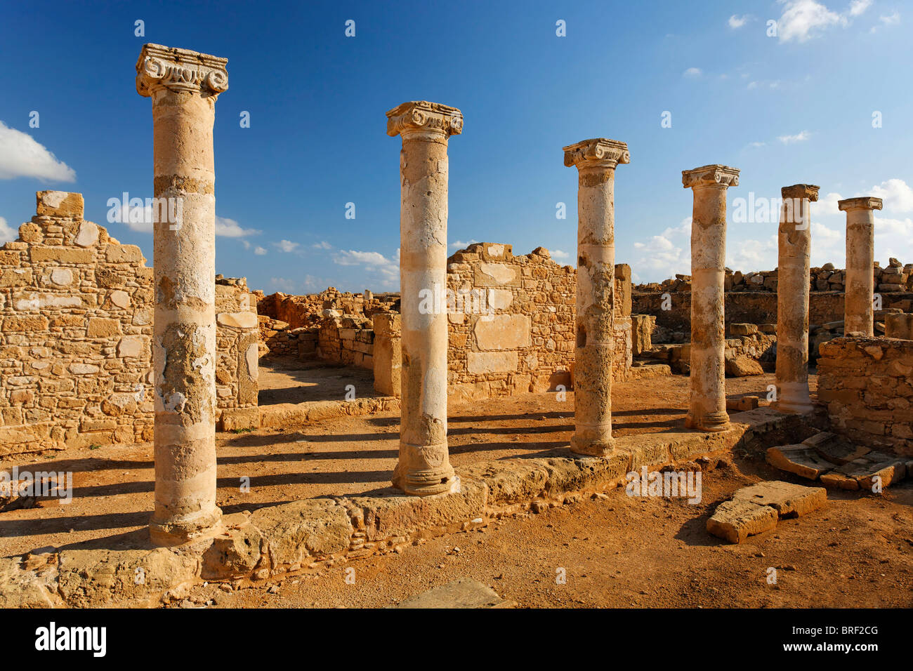 Ancient Greek columns in ancient walls, excavation site, UNESCO World Heritage Site, Kato, Paphos, Pafos, Cyprus, - Stock Image
