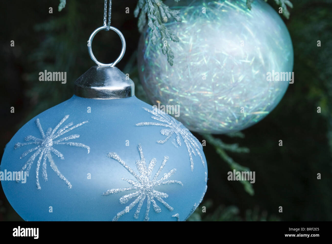 Closeup of blue and white christmas decorations - Stock Image