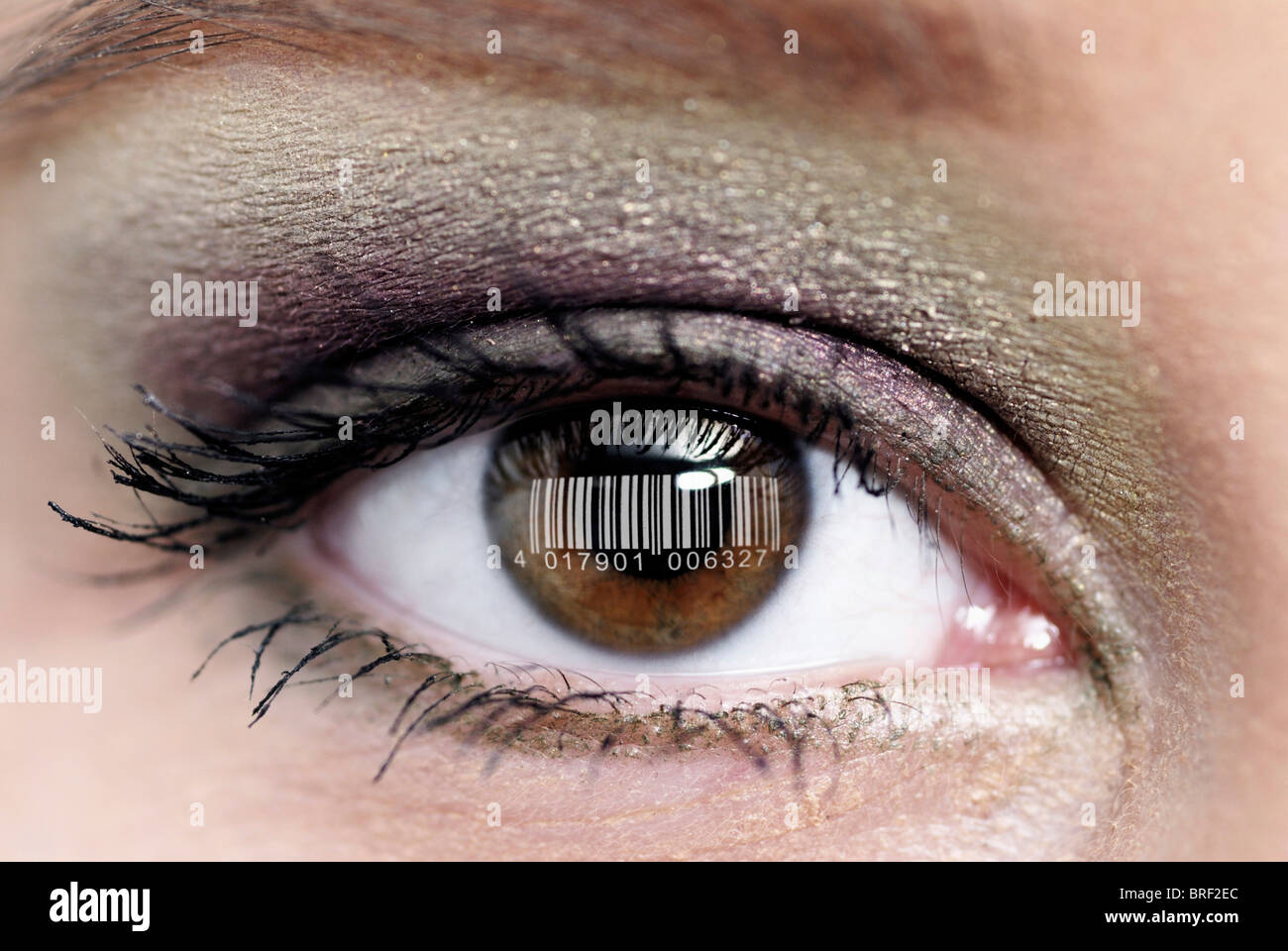 Woman's eye with a barcode, transparent person, population census - Stock Image