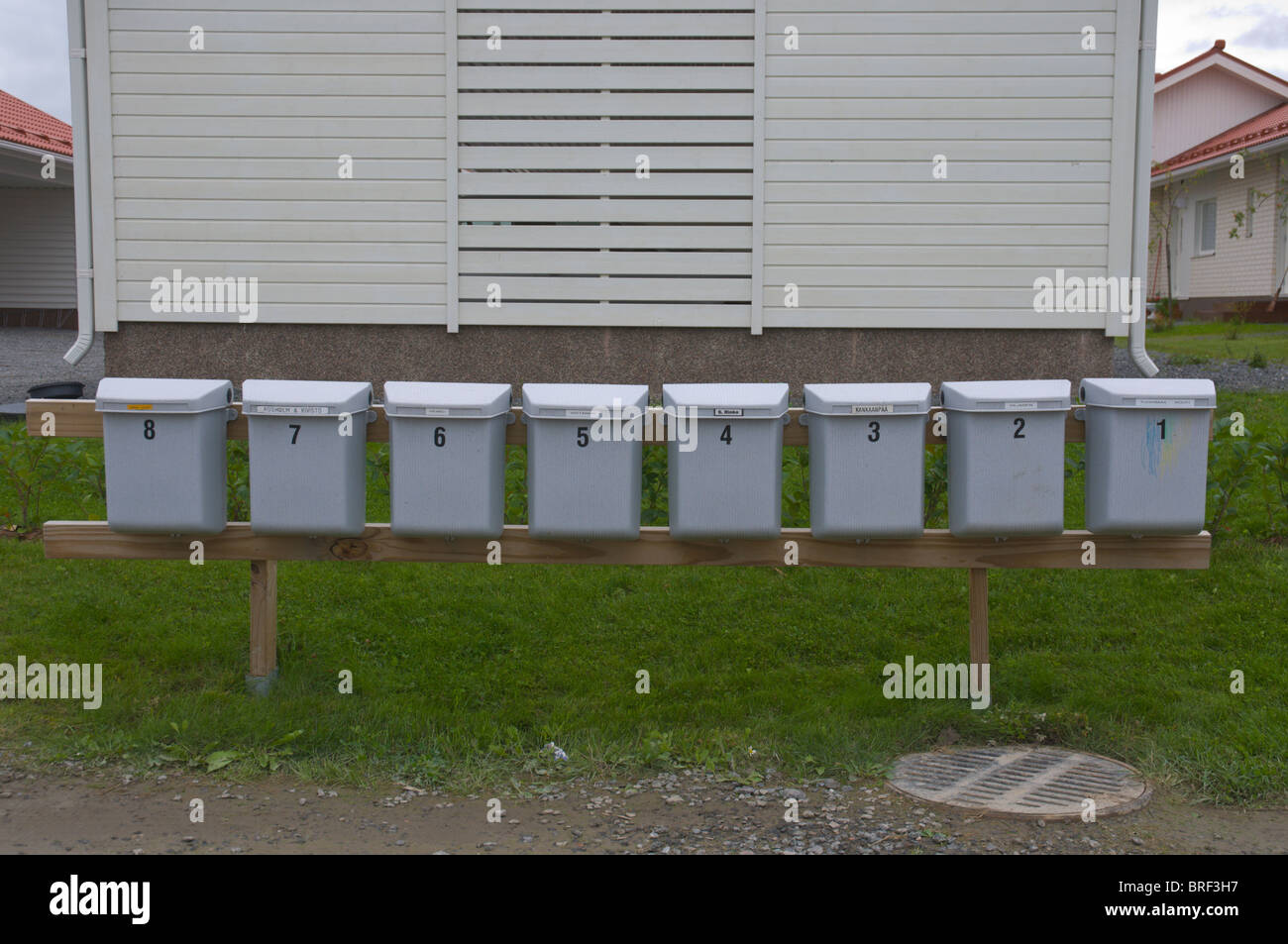 Postboxes Finland Scandinavia northern Europe - Stock Image