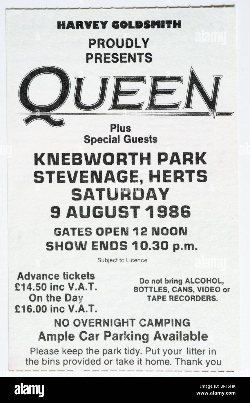 A concert ticket for Queen at the Knebworth festival - Stock Image
