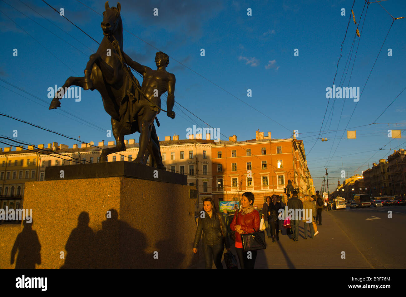 Anichkov most (bridge) along Nevsky Prospect street central St Petersburg Russia Europe - Stock Image