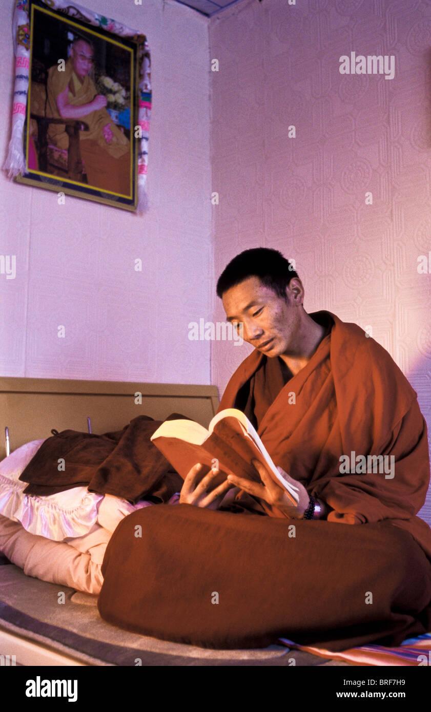 Tibetan Buddhist monk Dongyu, reads the Buddha's teachings under the watchful smile of the present Dalai Lama - Stock Image