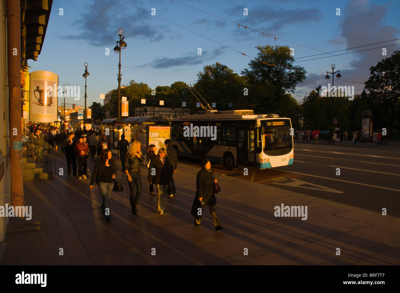 Nevsky Prospekt street central St Petersburg Russia Europe - Stock Image