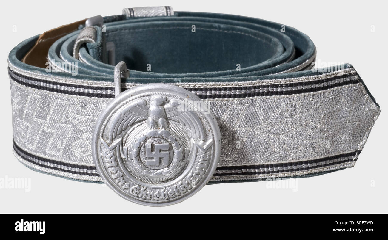 A belt for Leaders, of the Waffen-SS Aluminium closure, hollow-stamped one-piece buckle with multiple markings 'SS', - Stock Image