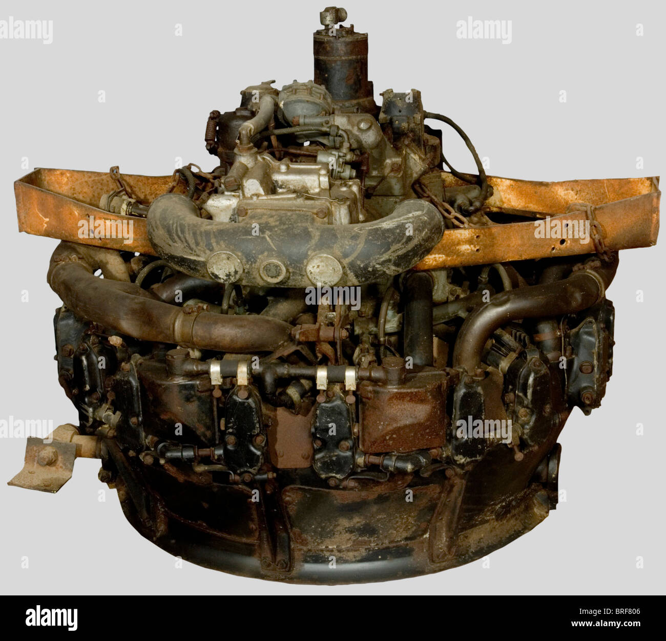A 9-cylinder US airplane engine, for a Continental Airlines plane. Very corroded., historic, historical, 20th century, - Stock Image