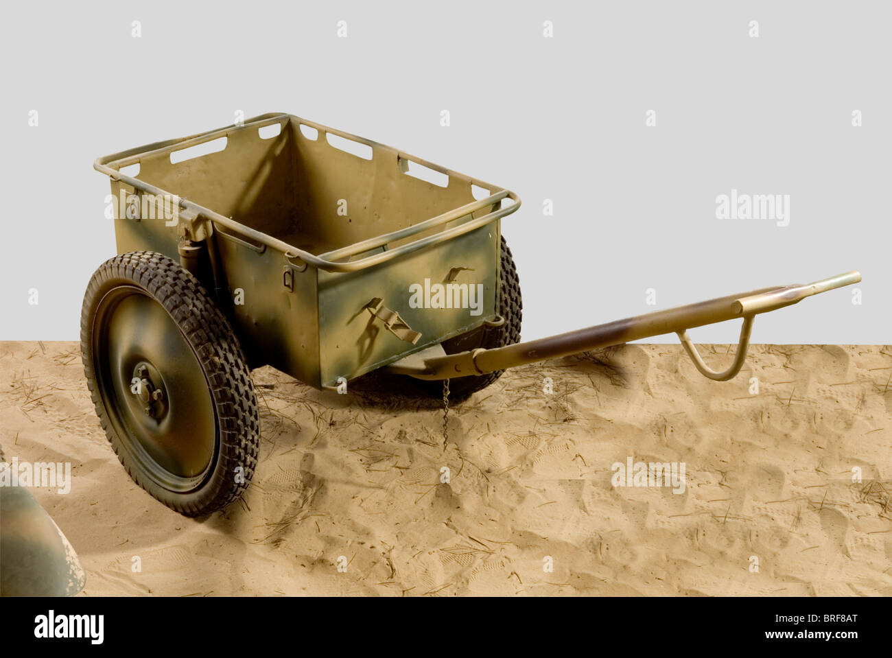 A transport trailer, used by Wehrmacht units. First model with solid hub and two tow bars, one long, one short. - Stock Image