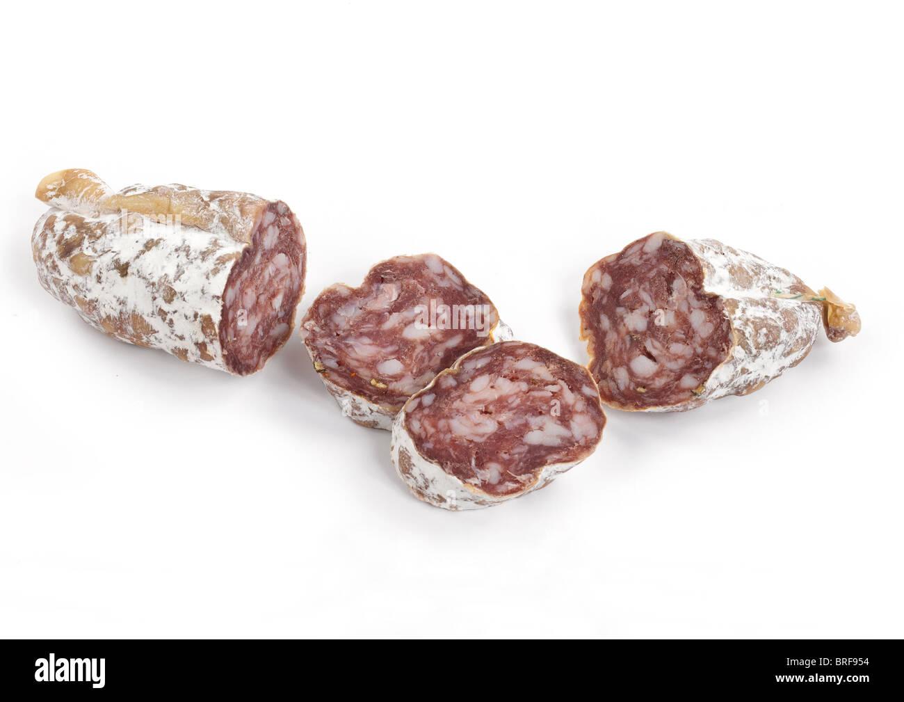 Close-up of Saucisson Sec D'Auvergne sausage - Stock Image