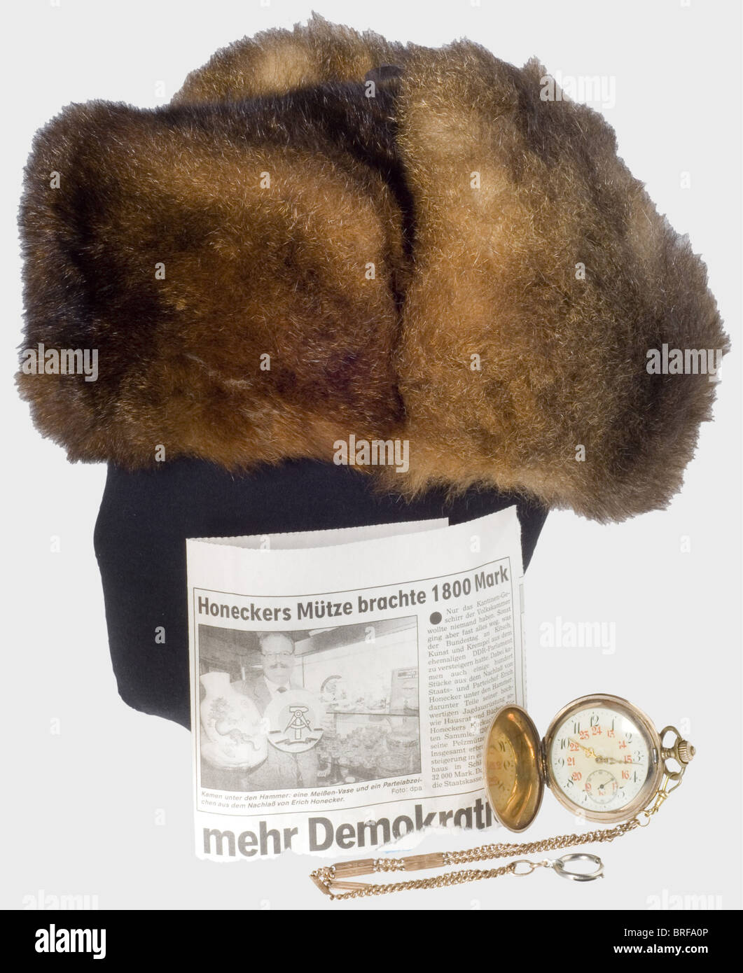 Erich Honecker (1912 - 1994) - a fur cap and pocket watch, for the Chairman of the East German Government (1976 - Stock Image