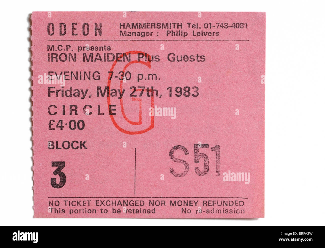 A concert ticket for Iron Maiden at the legendary Hammersmith Odeon - Stock Image