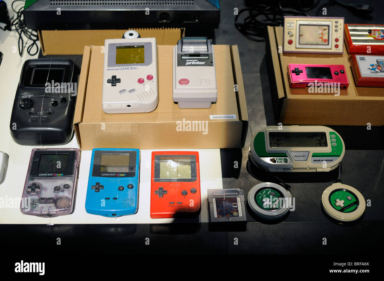 Portable Exhibition Games : Different portable video game consoles on display during an stock