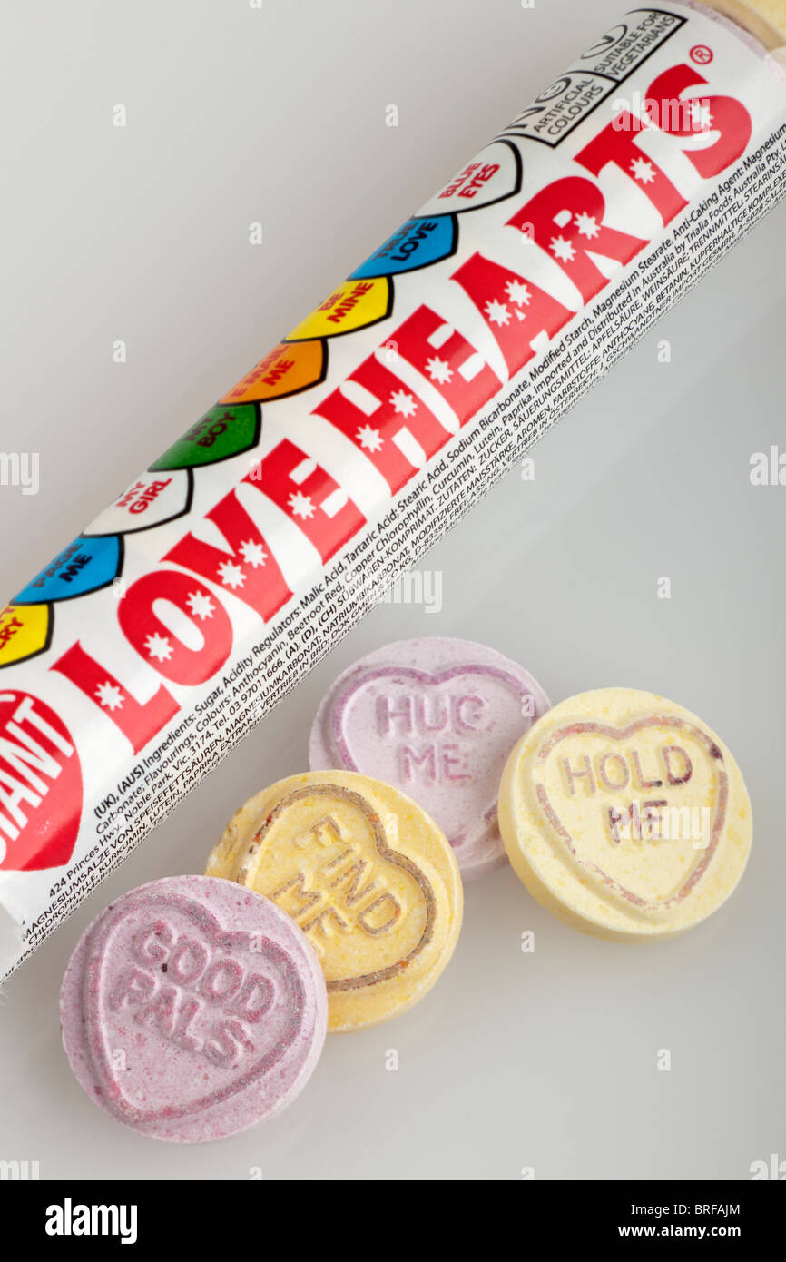 Packet of Swizzels Matlow giant love hearts sweets - Stock Image