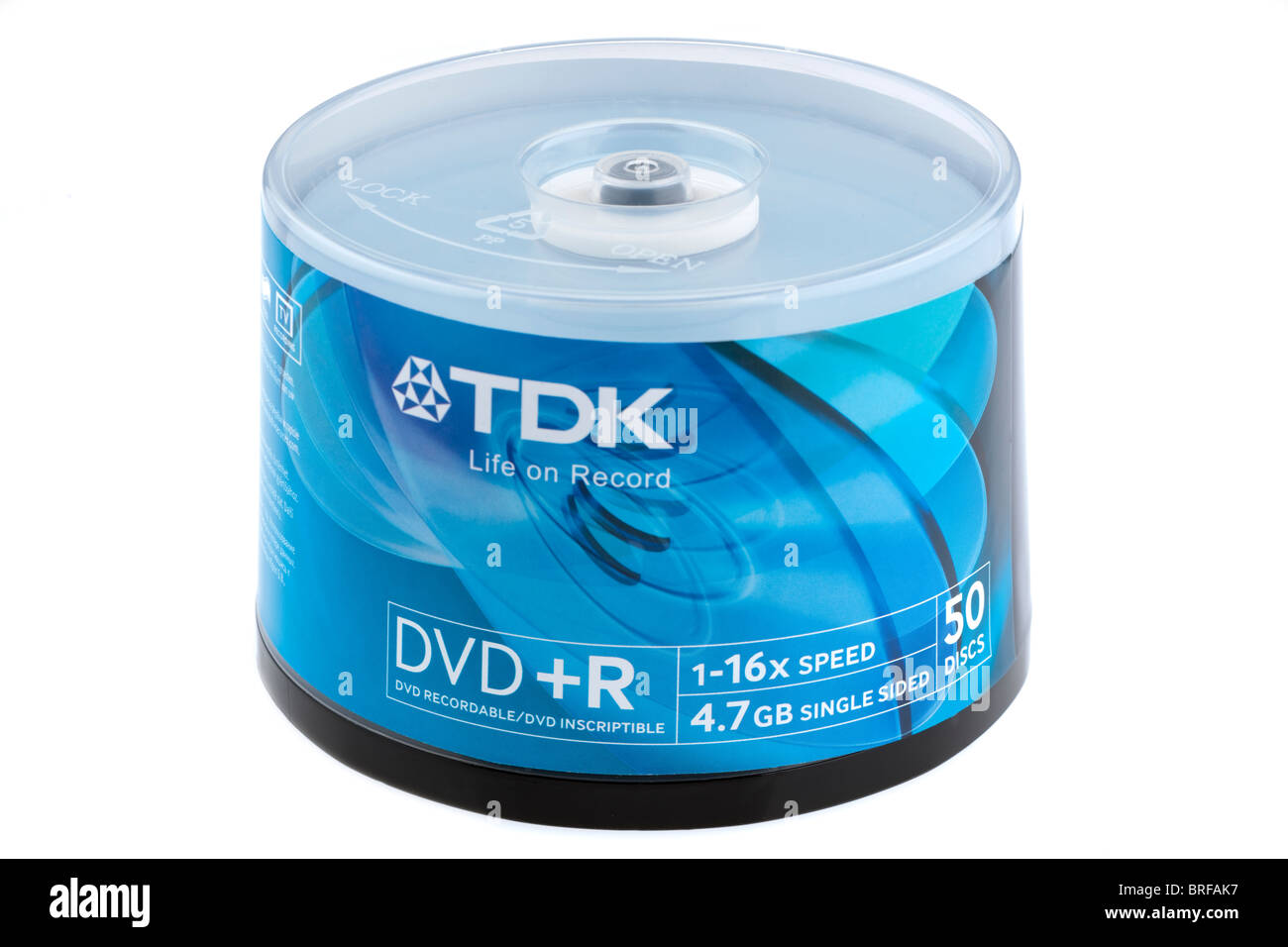 Plastic canister pack of 50 TDK DVD+R recordable 16 times speed 4.7gb single sided write once DVD disks - Stock Image