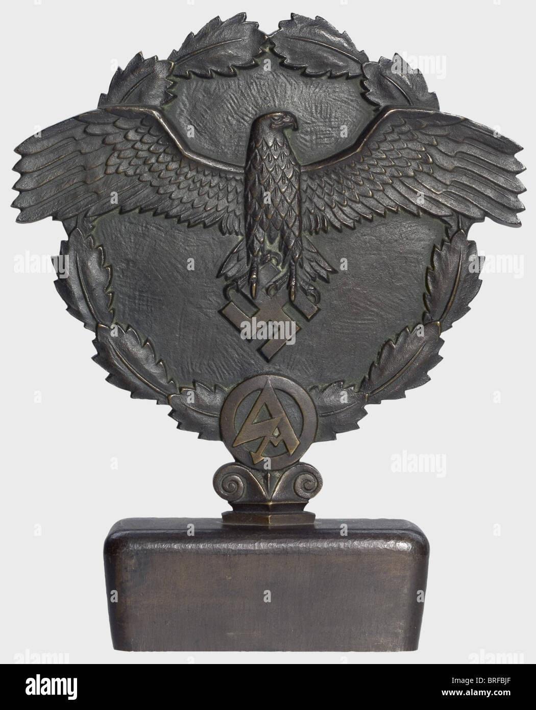 A Victory Badge for 1st Place in the SA National Competitions 1937., Bronze with dark patina. Obverse national eagle - Stock Image