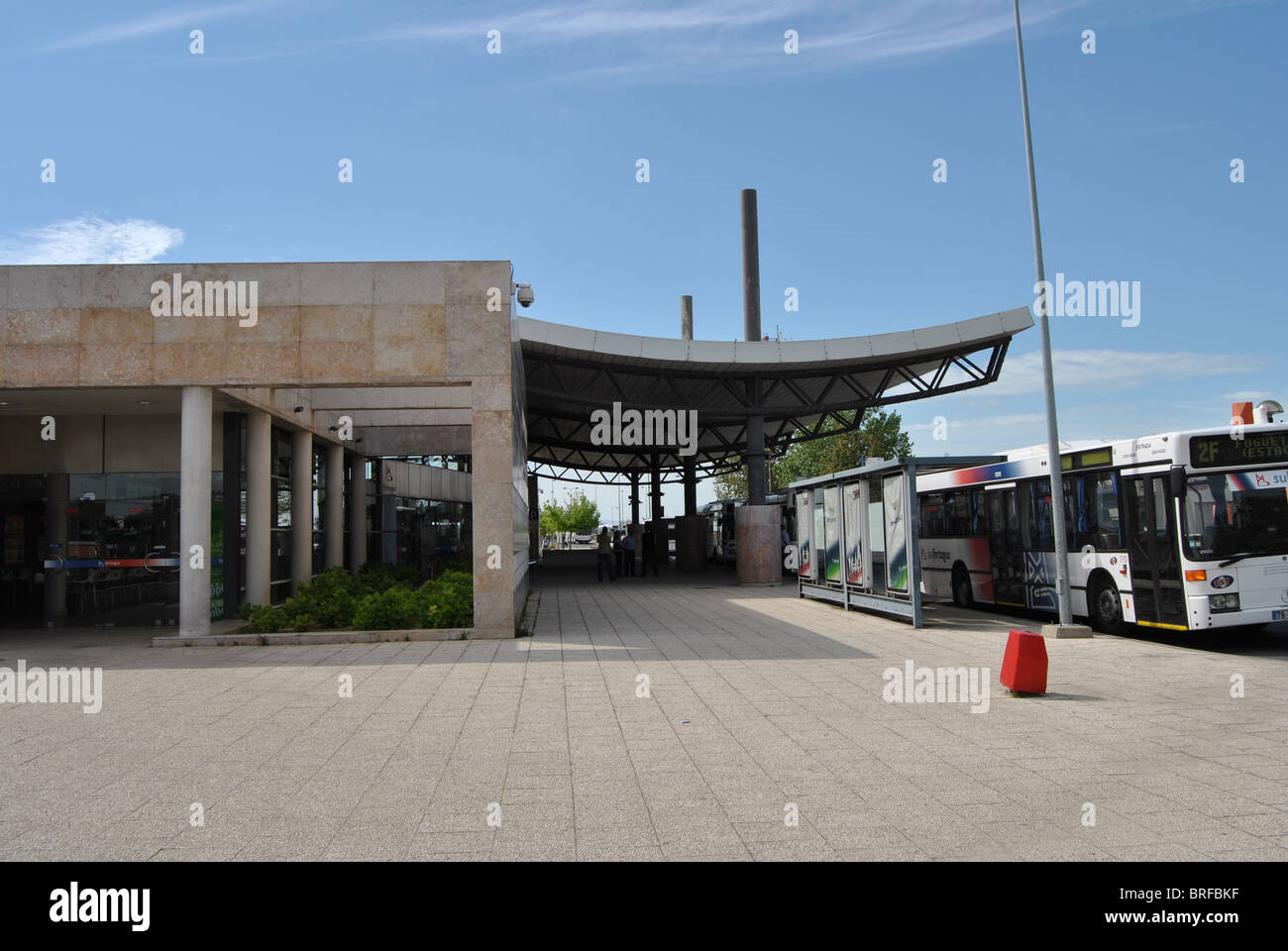 Outdoor view Fogueteiro Train and Bus Station, Seixal, Portugal - Stock Image