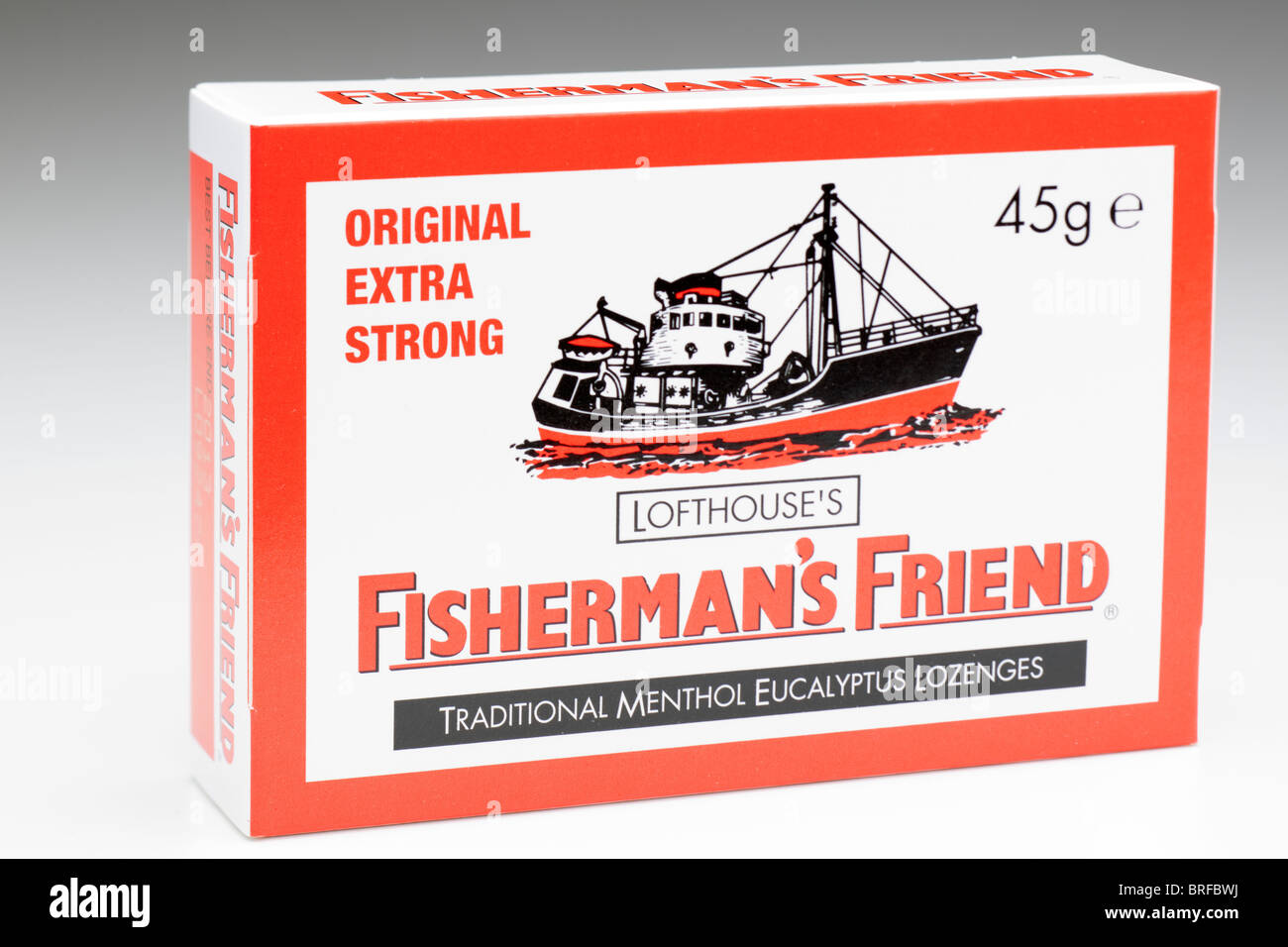 45g box of Lofthouse's original extra strong Fisherman's Friend traditional menthol Eucalyptus Lozenges - Stock Image