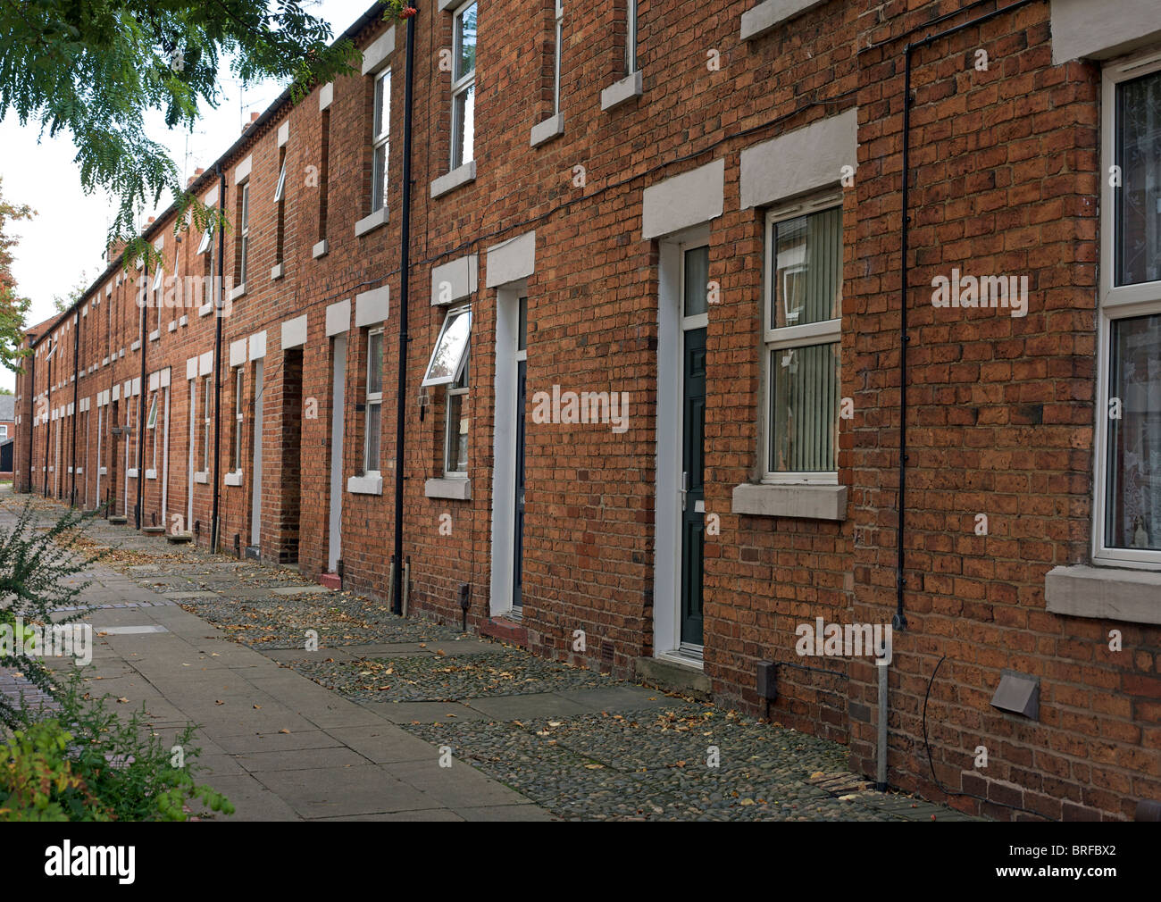 terrace of miner's cottages, Eastwood, Nottinghamshire - Stock Image