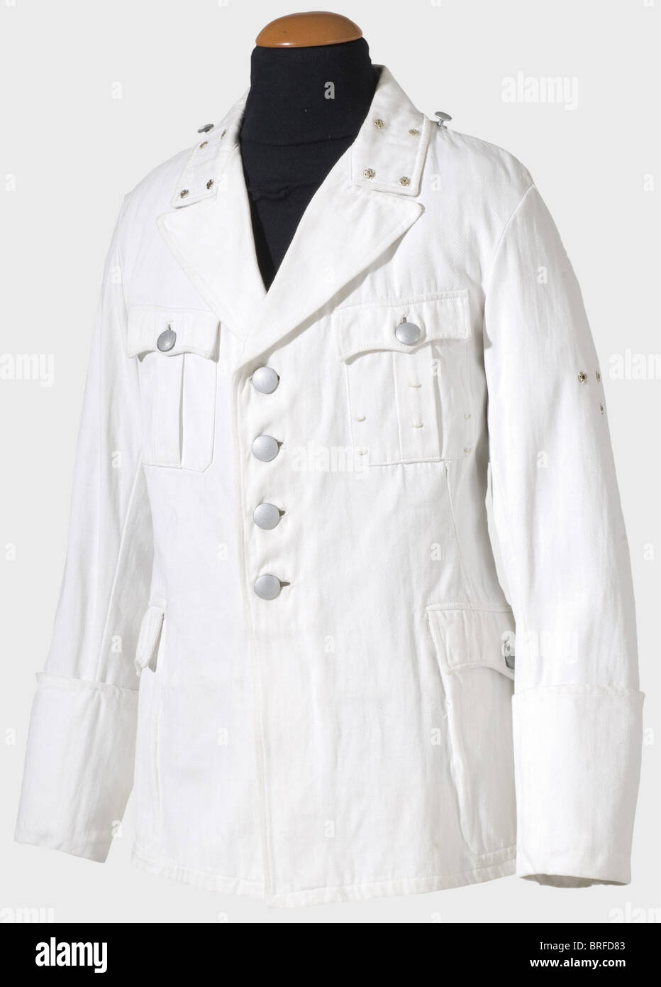 A white summer coat for a Führer, (SS-Officer) in the same cut as the black service tunic. Unlined version - Stock Image