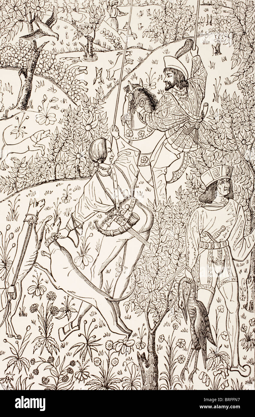 Outline of a 15th century hunting tapestry. - Stock Image