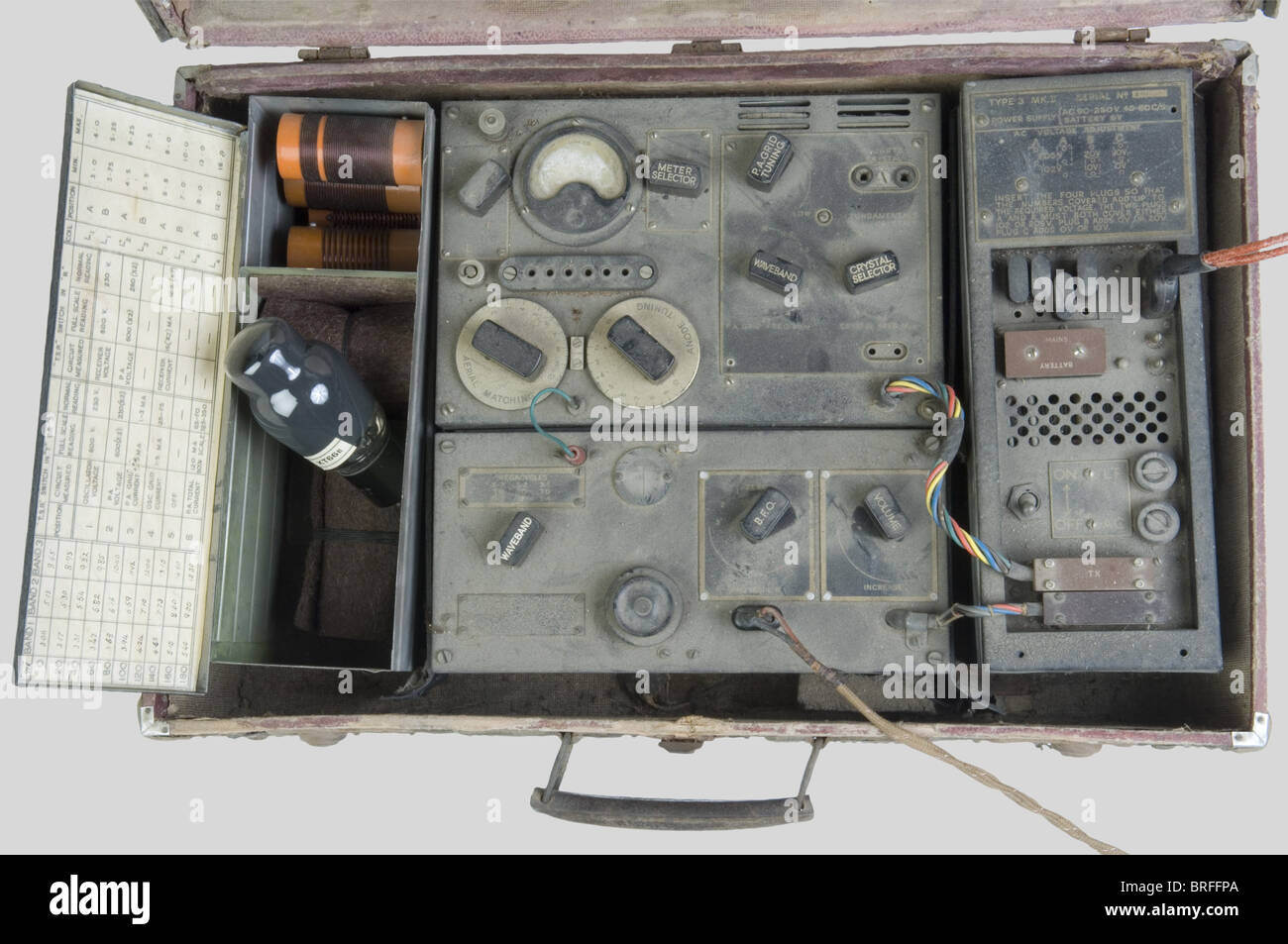 A cased SOE radio pattern MKII, sent by the 'Special Operation Executive' to the French Resistance. English - Stock Image
