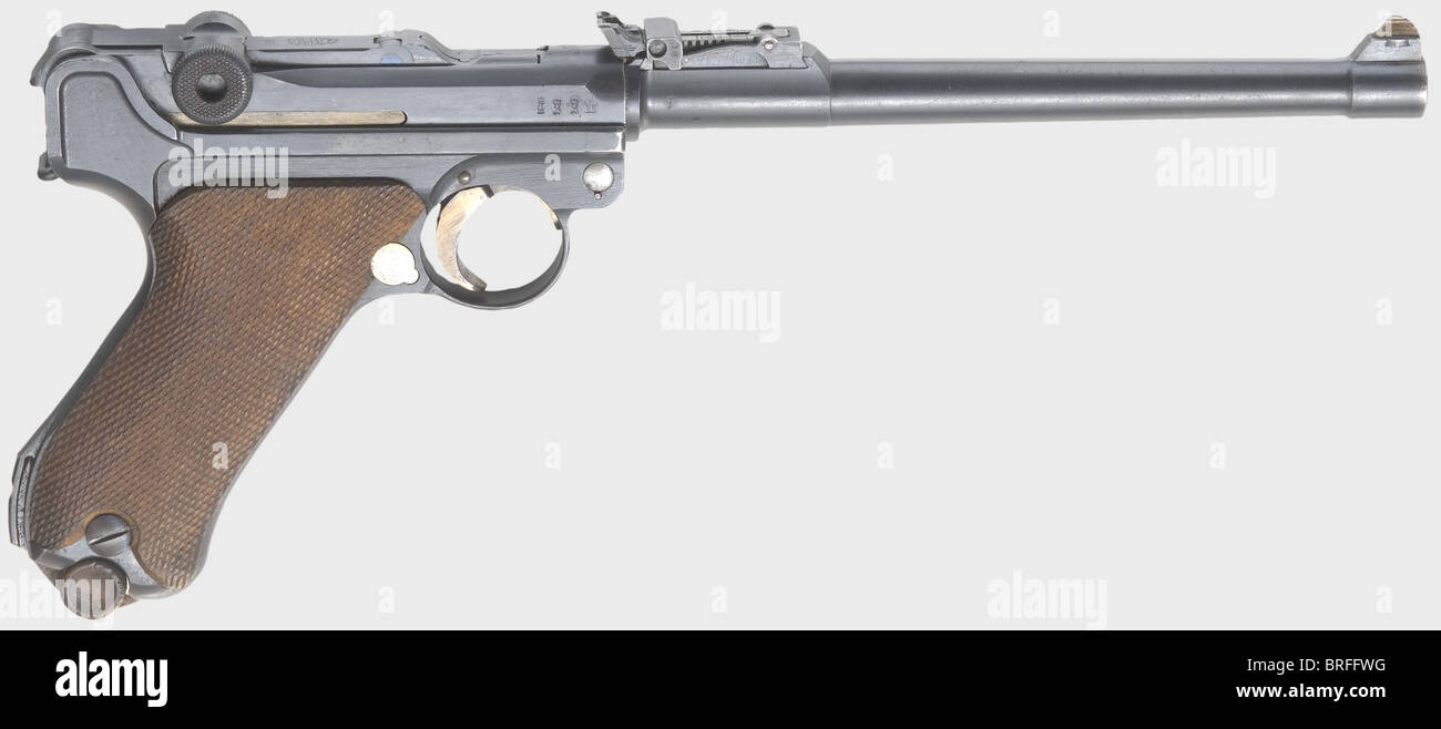 A long pistol 08 DWM 1917, with holster, calibre 9 mm Parabellum, no. 9708h. Matching numbers including firing pin. - Stock Image