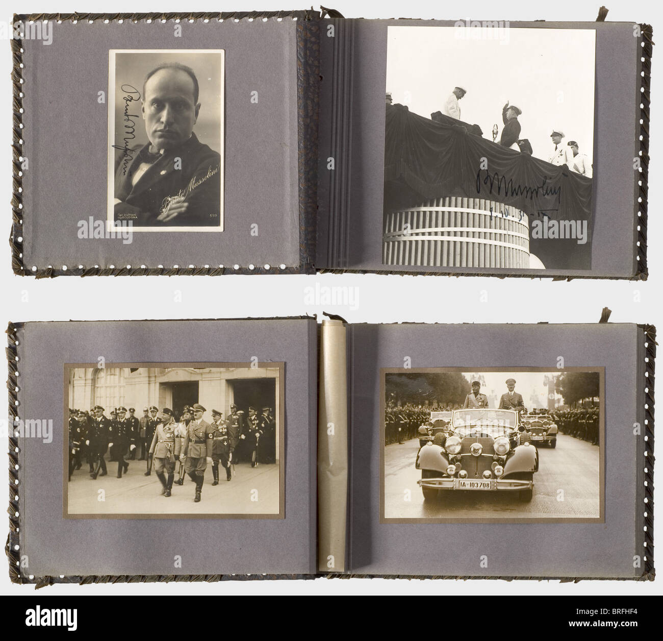 Hermine Hoffmann - a photo album Mussolini and Hitler., Sixty-three pictures, partially photo postcards or press - Stock Image