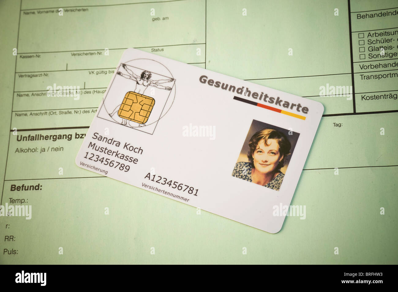 German electronic health insurance card on the forms - Stock Image