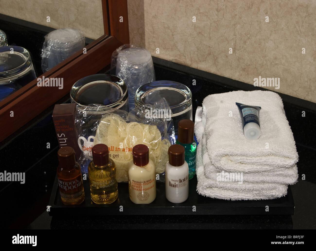 Hotel bathroom toiletries - Stock Image