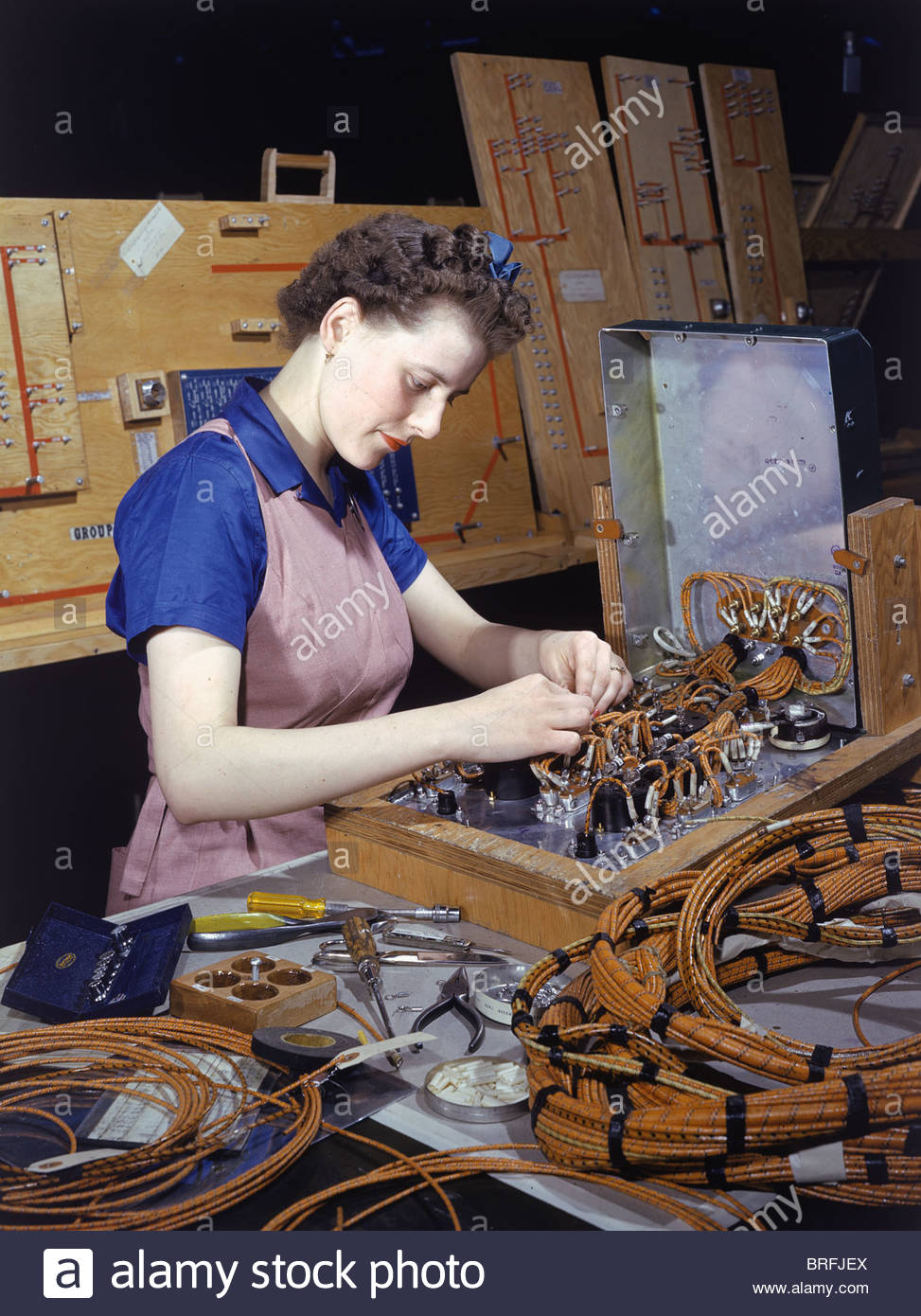 Boeing Factory Worker Stock Photos Wire Harness A Assembles Wires Used In Panels Put Into New Airplanes Image