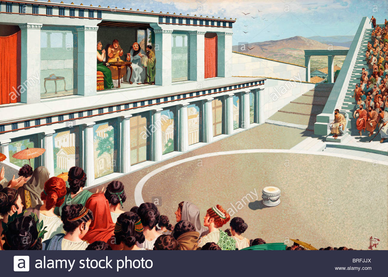 An audience watches a tragic play at an ancient Greek theater. - Stock Image