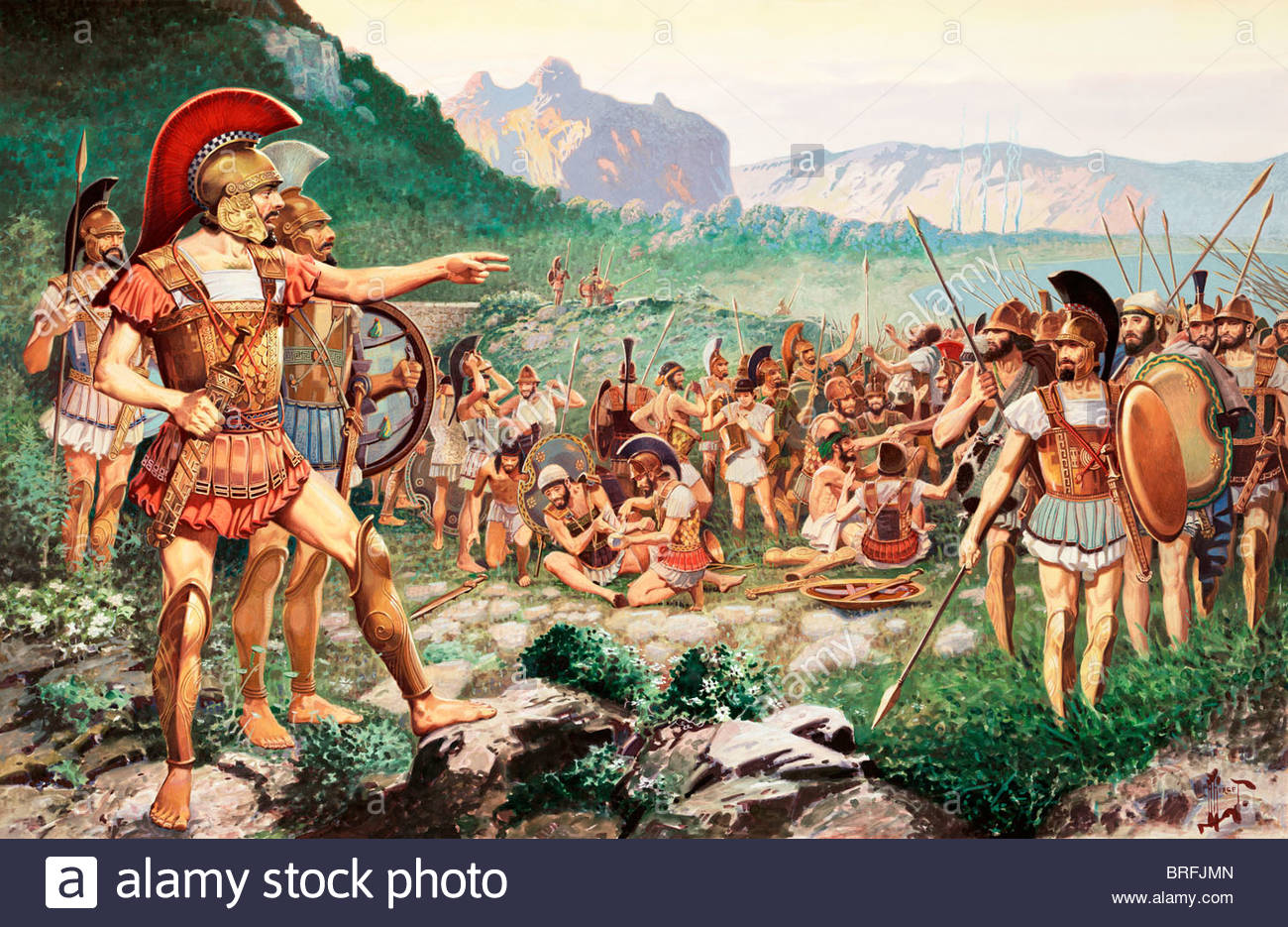 Leonidas bids farewell to allies before the battle at Thermopylae. - Stock Image