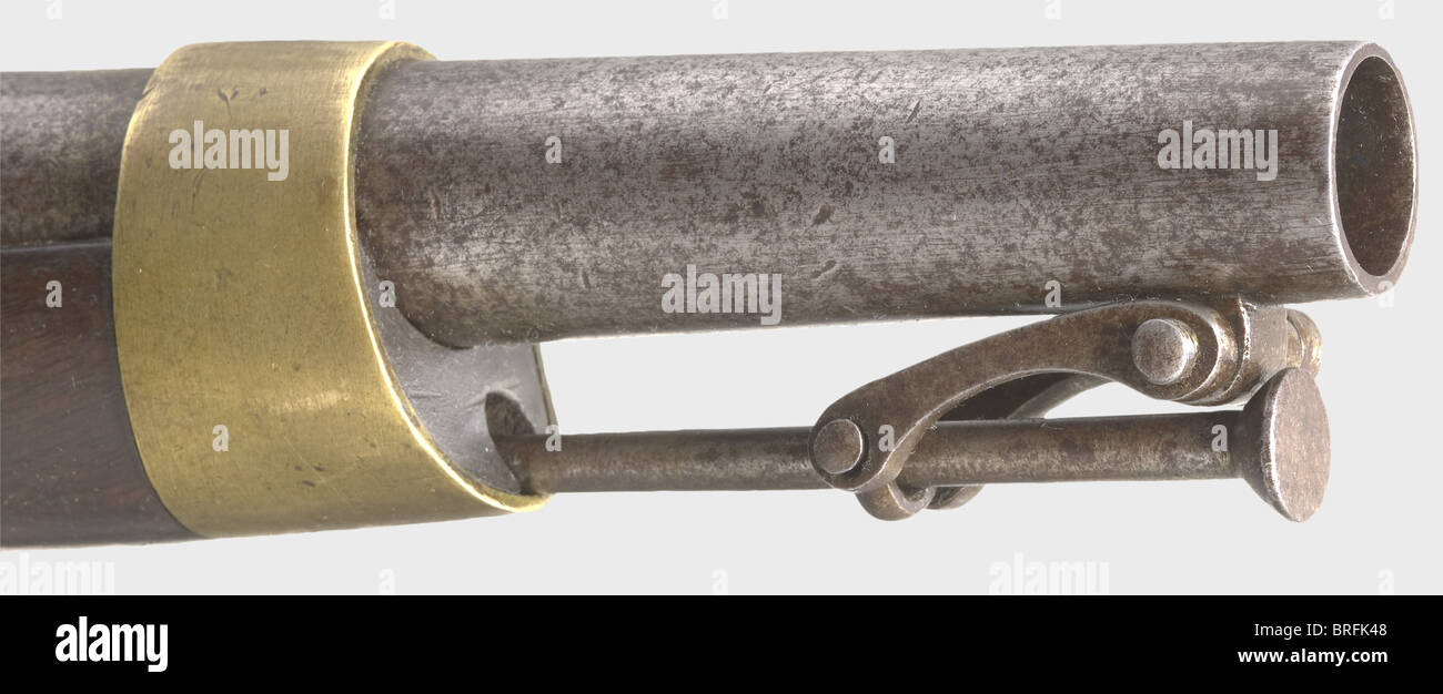A cavalry pistol, after the French model an 13 pattern. Round, smooth bore barrel in 18 mm calibre. Smooth flintlock - Stock Image