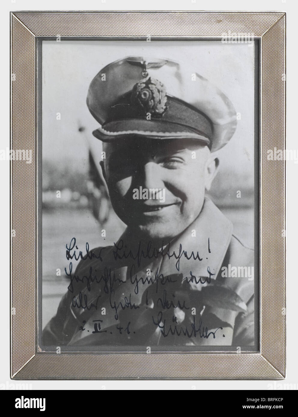 Günther Prien - a presentation photograph in a silver frame, to his sister Lieselotte, dated '2.II.41'. - Stock Image