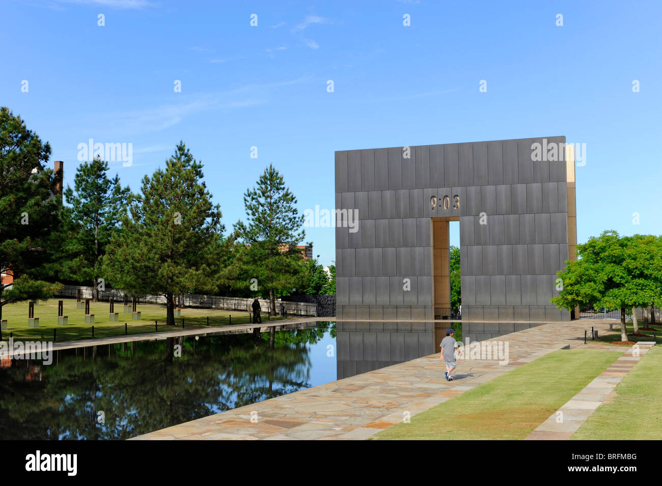 Wall marking time of bombing 9:03 Oklahoma City Bombing Site Alfred P Murrah Building National Memorial Stock Photo