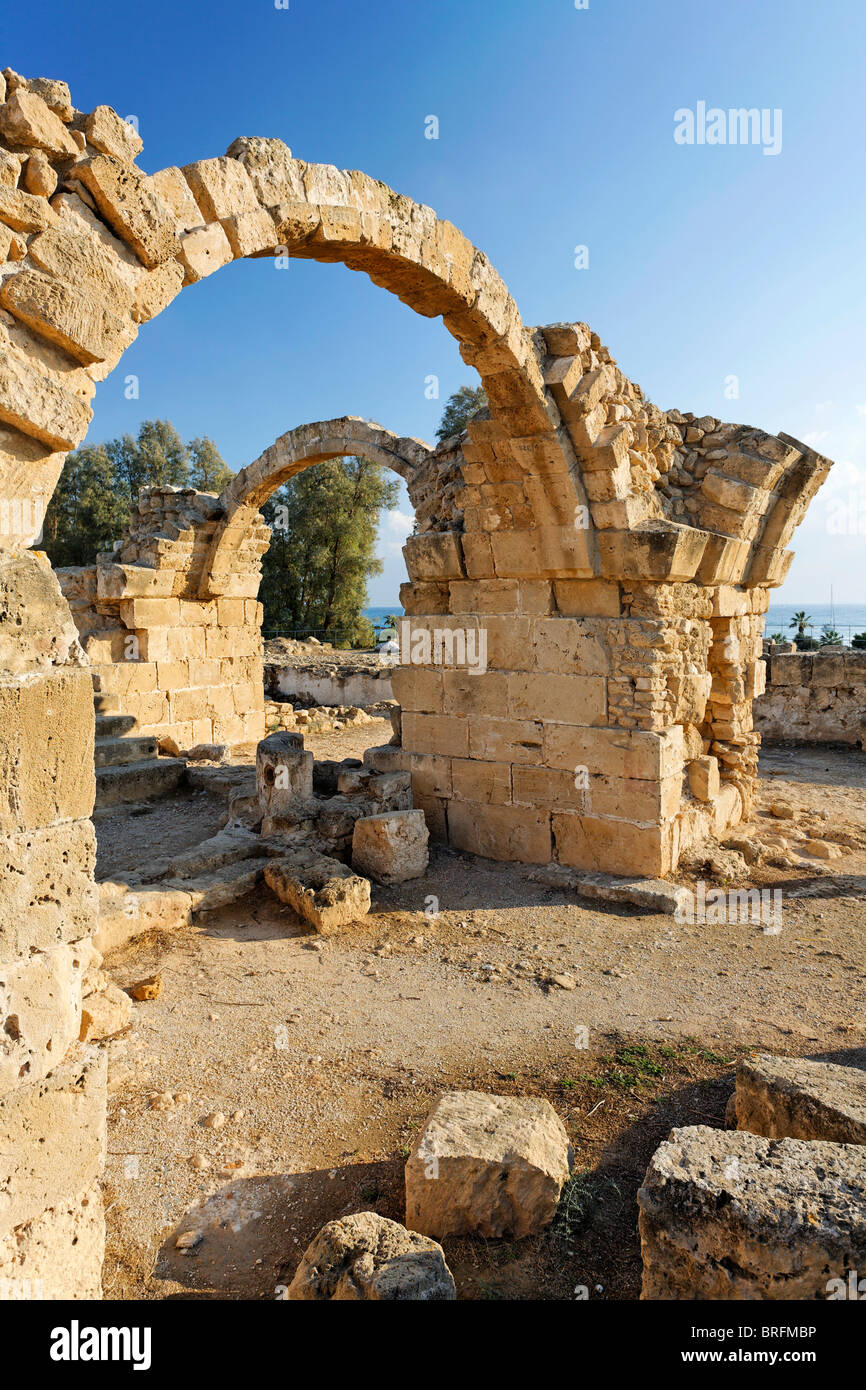 Saranda Kolones fortress, archway, archeology, UNESCO World Heritage Site, Kato, Paphos, Pafos, Cyprus, Europe - Stock Image