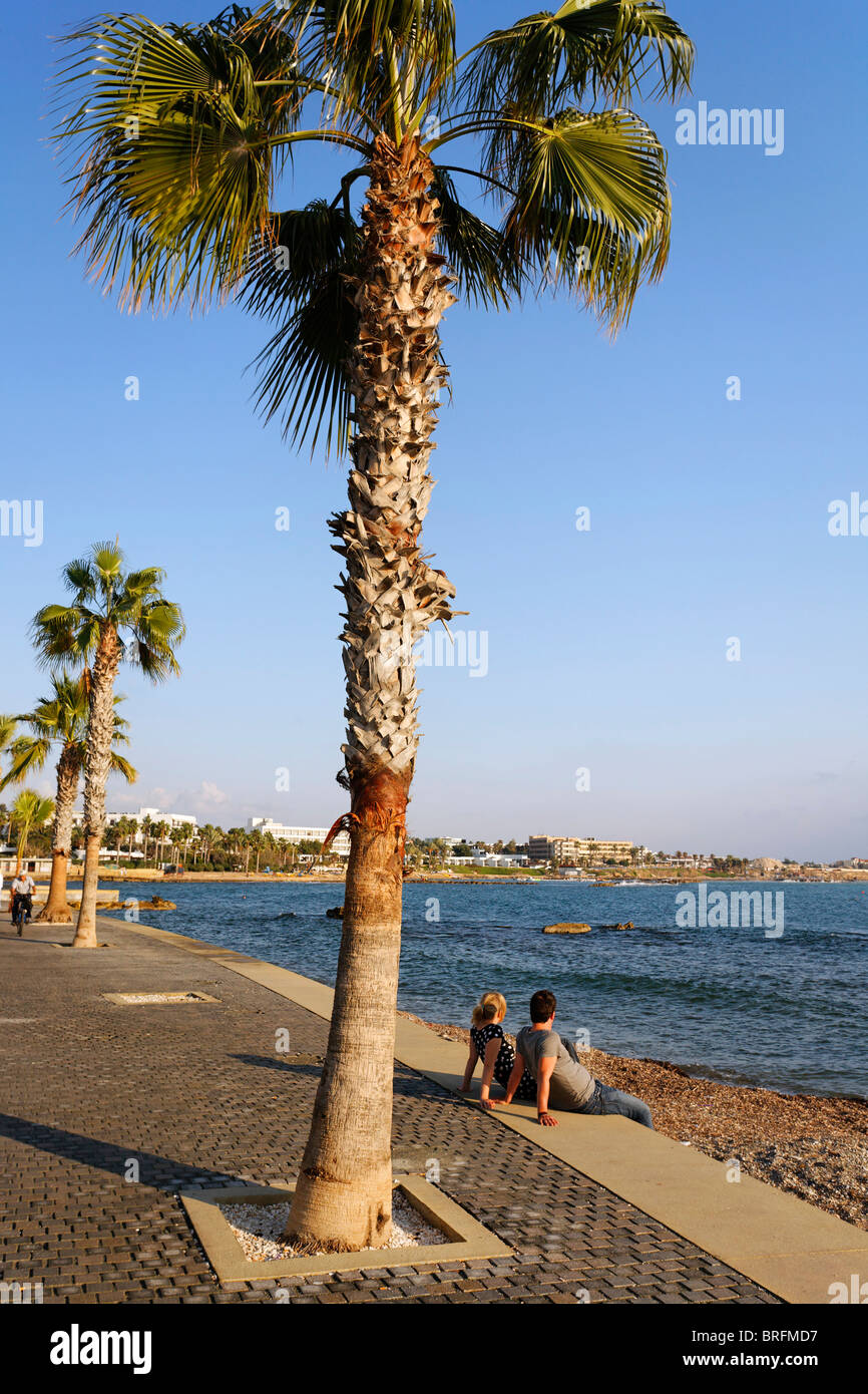 Shore, promenade, Bench, people, palm trees, sea, coastline, Kato, Paphos, Pafos, Cyprus, Europe - Stock Image