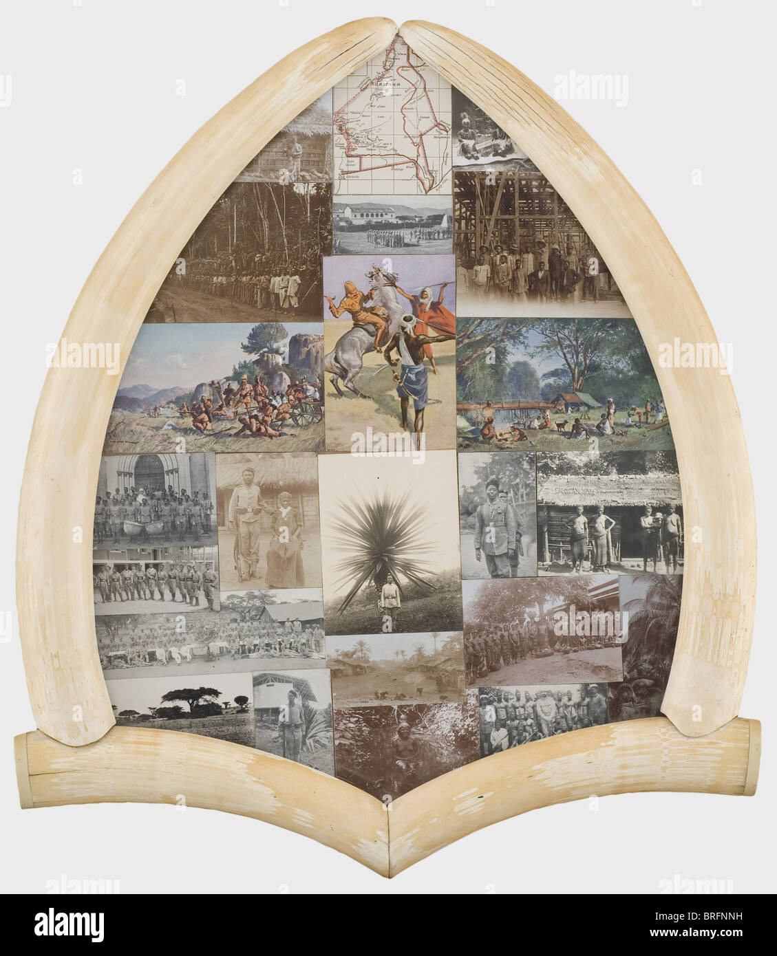 Philipp Waizmann - souvenir photos from Africa in an ivory frame., 23 photographs and postcards, including interesting - Stock Image