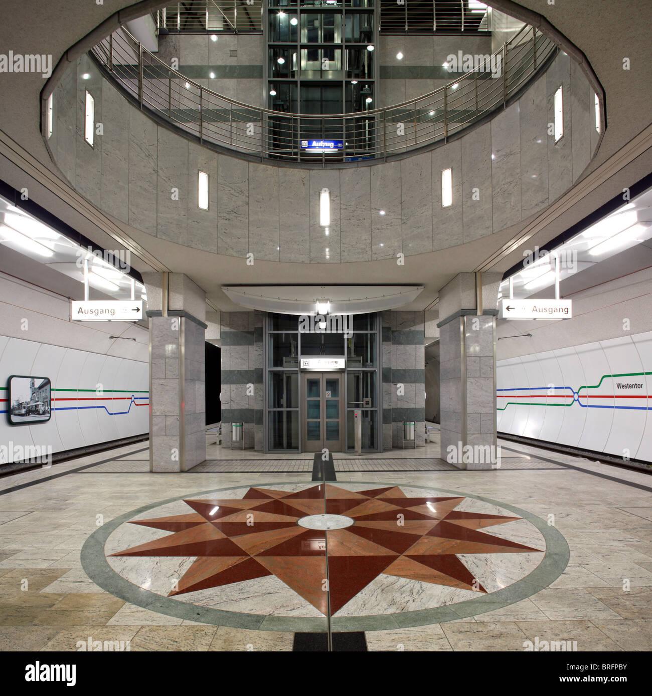 Westentor subway station, Dortmund, Ruhr Area, North Rhine-Westphalia, Germany, Europe - Stock Image