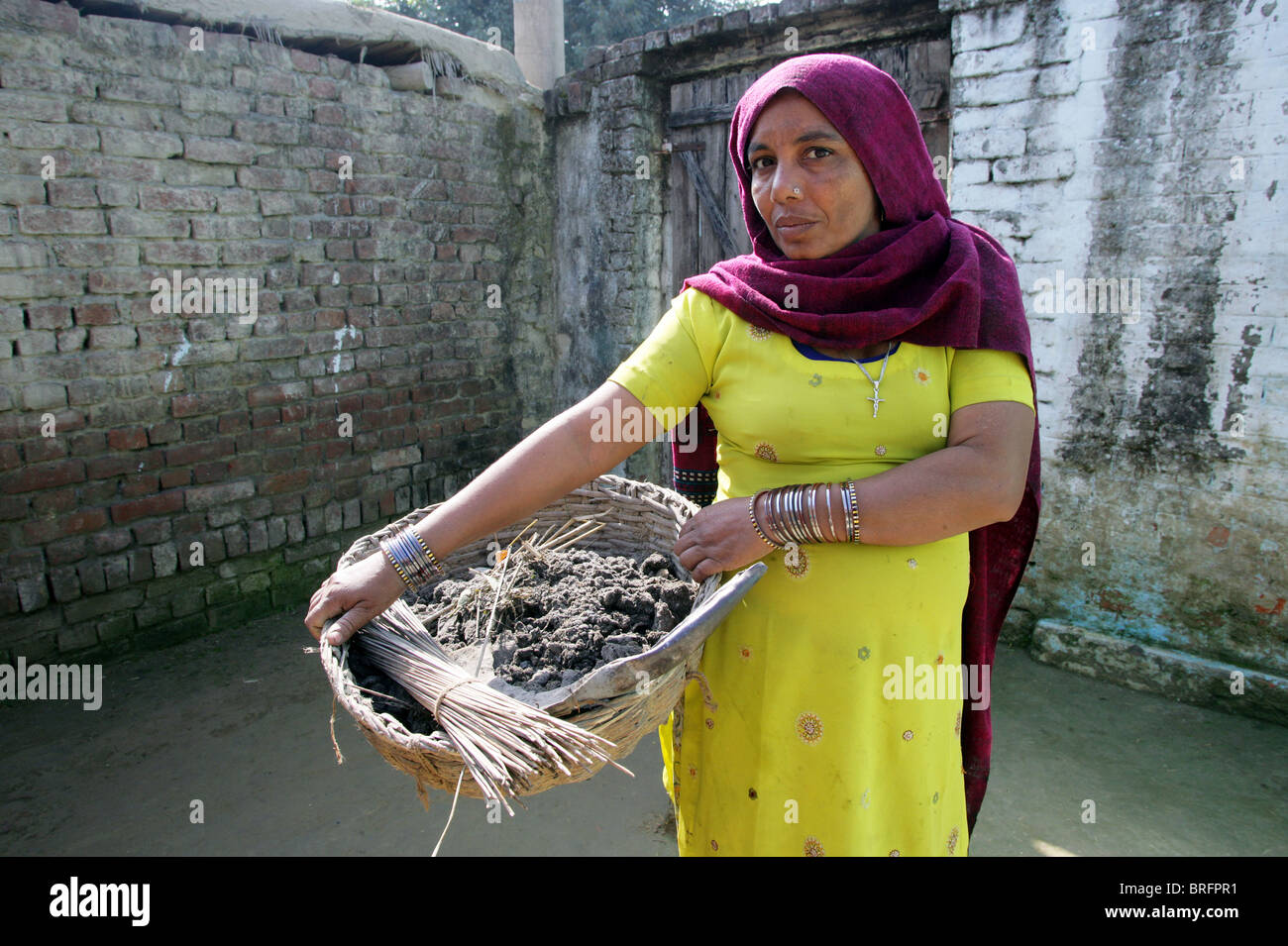 Dalit woman from the cast of the untouchables working as scavangers, cleaning human excrements. Uttar Pradesh, India - Stock Image