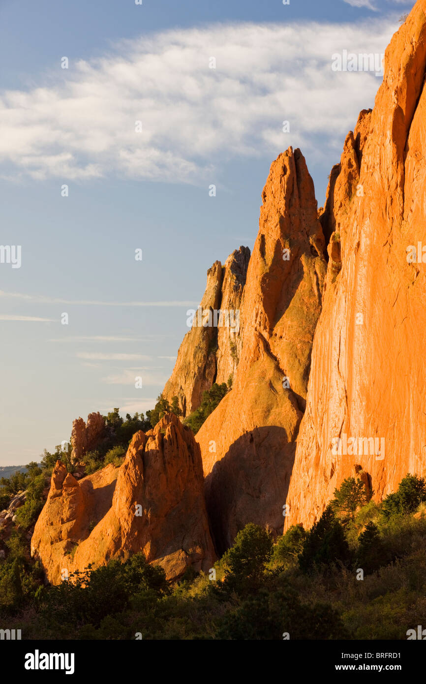 North Gateway Rock, Garden of the Gods.  Years of erosion create unique sandstone formations, Colorado, USA Stock Photo