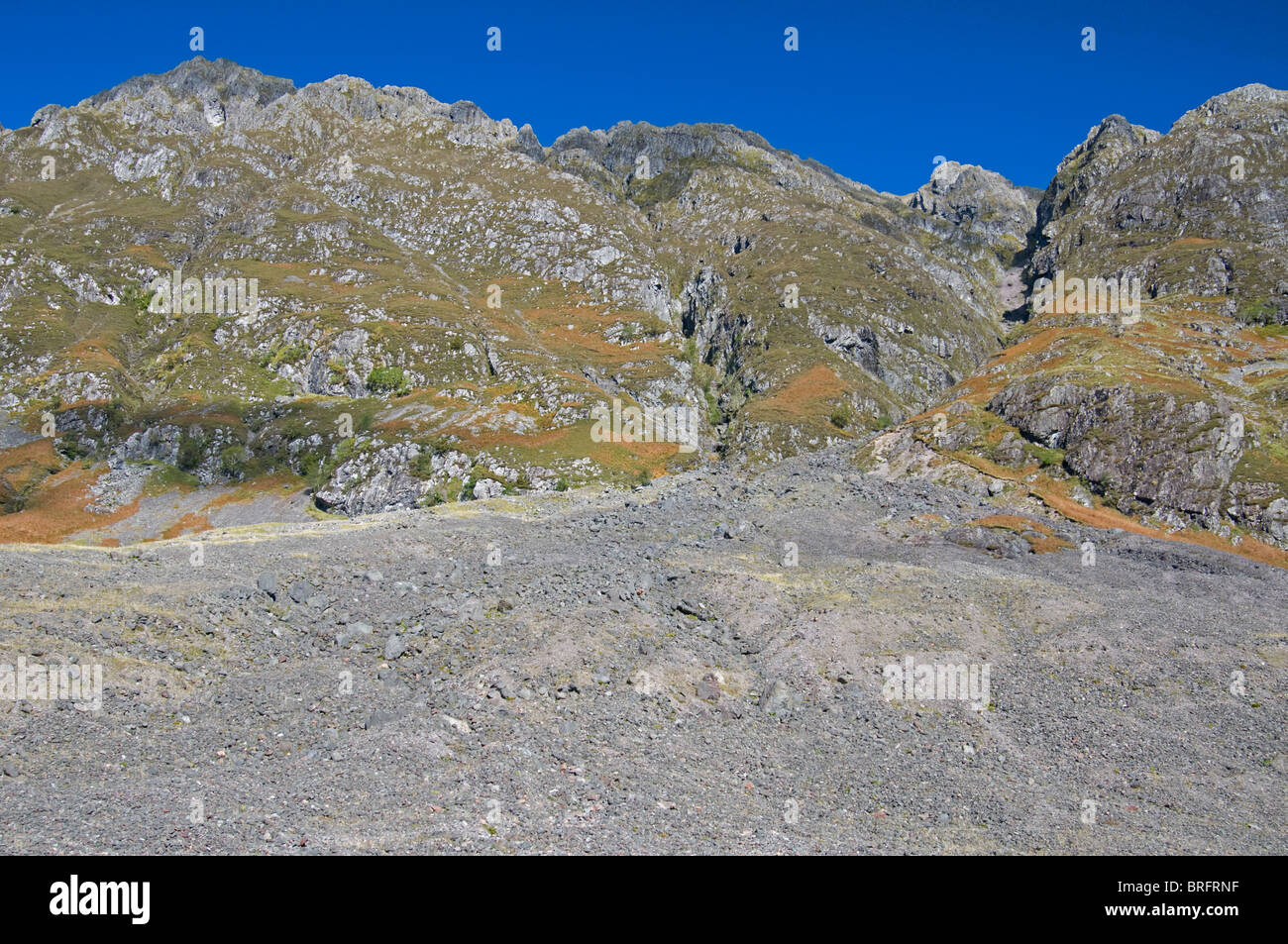 Unstable mountain scree slope below the Aonach Eagach ridge in Glencoe, Inverness-shire, Scotland.  SCO 6757 - Stock Image