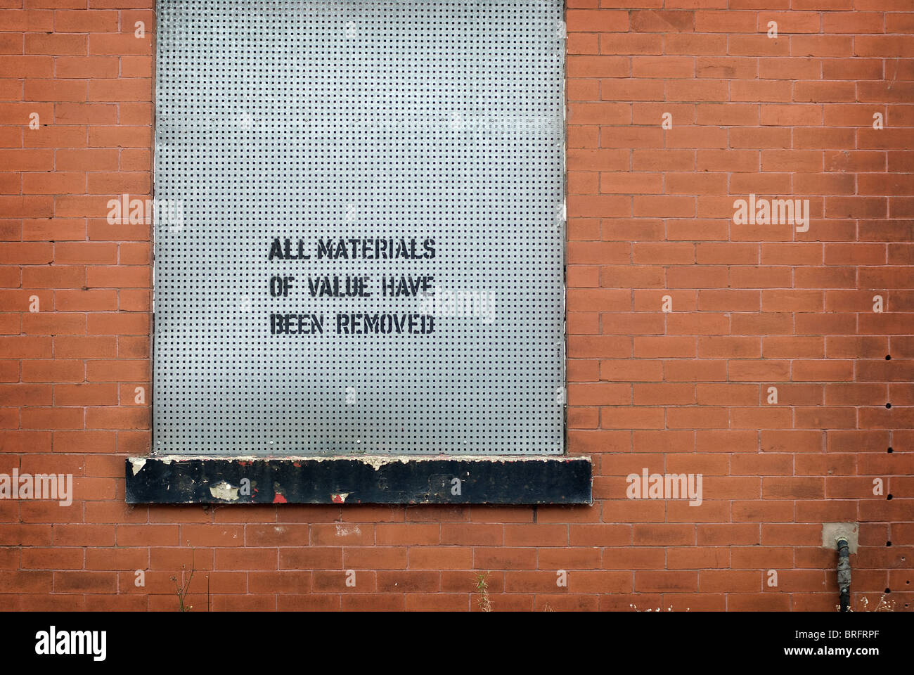 All materials of value have been removed - Stock Image