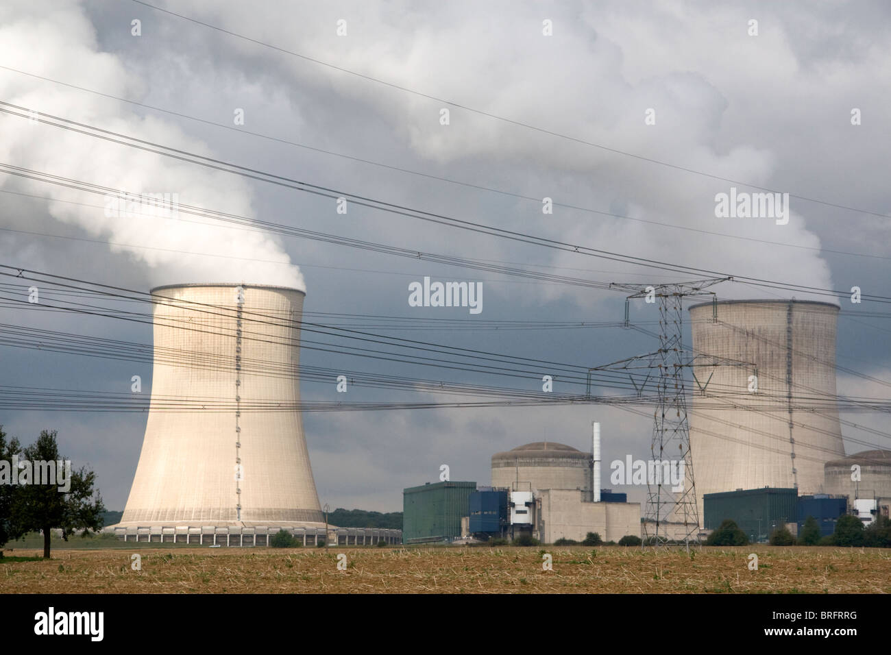 The Cattenom Nuclear Power Plant located in the Cattenom commune along the Moselle River in France. Stock Photo