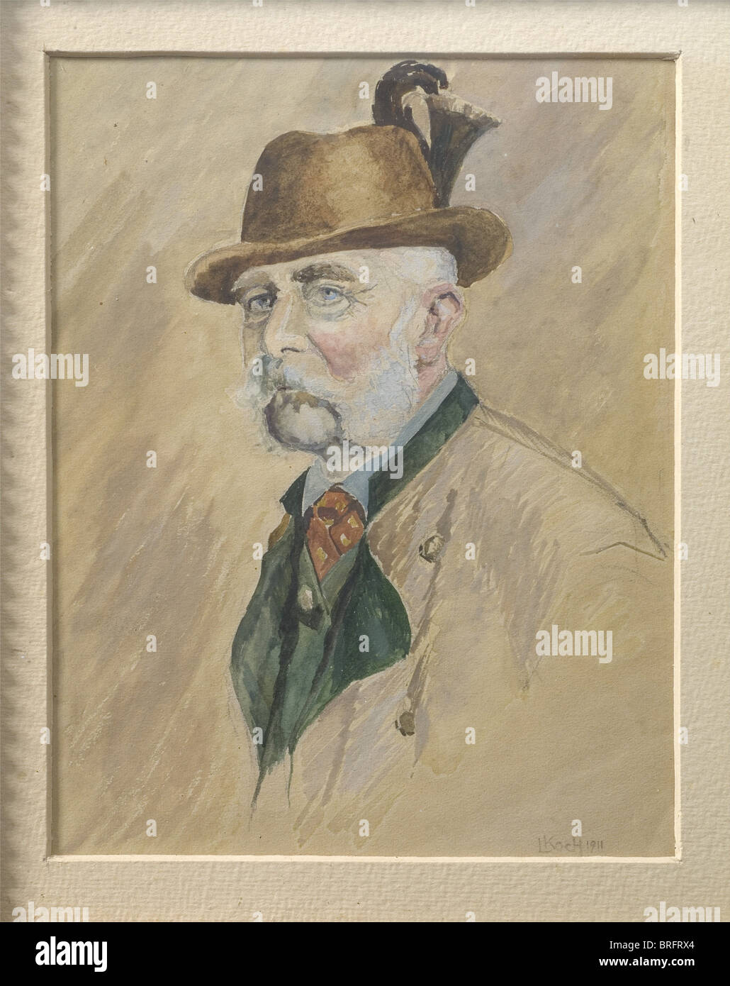 Ludwig Koch (1866 - 1934) - a portrait of Kaiser Franz Joseph I., Gouache on paper, signed and dated at the lower - Stock Image