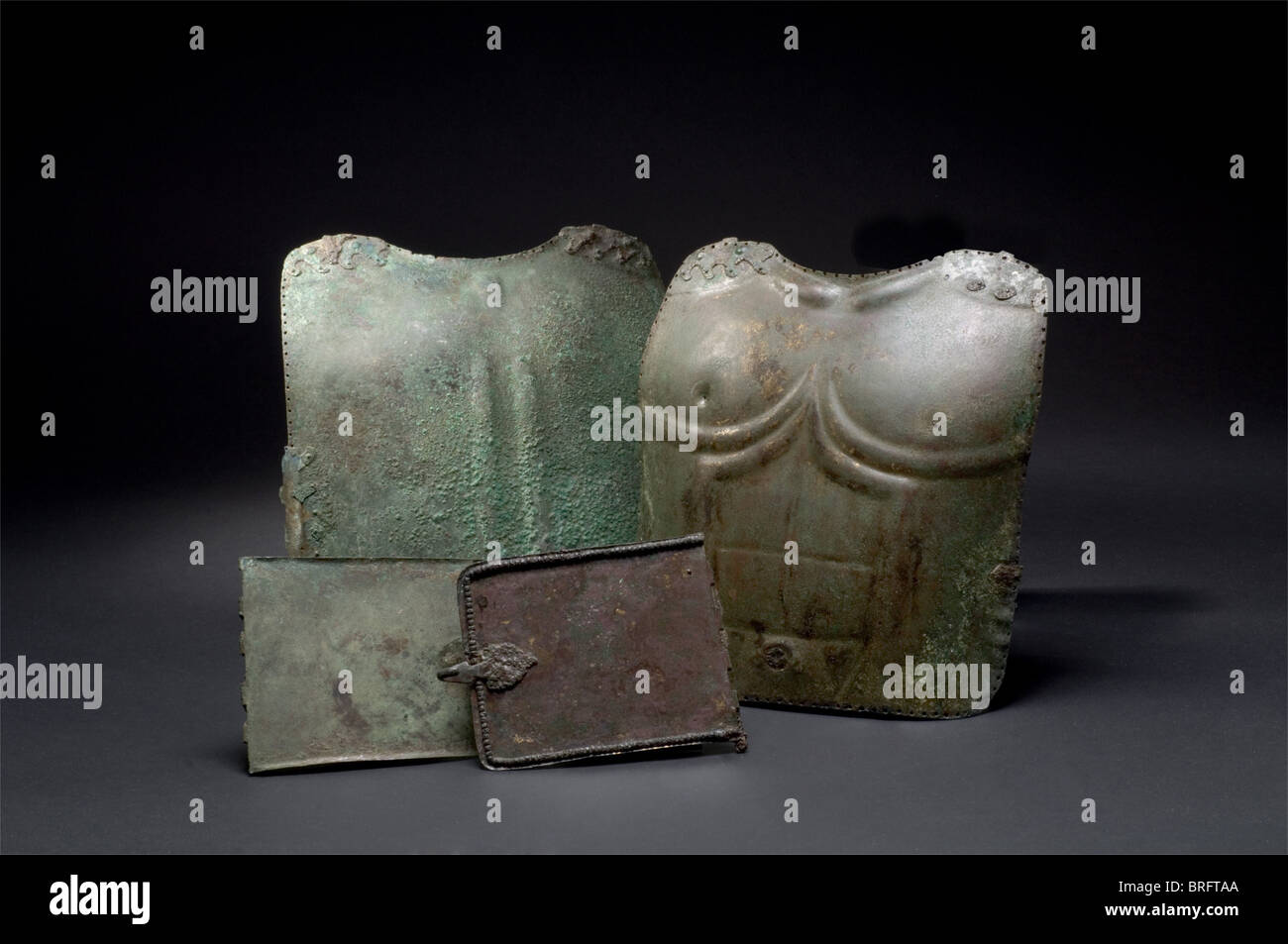 A Italic muscle armour, 5th/4th century B.C. The breastplate displays distinct pectoral and abdominal muscles with - Stock Image