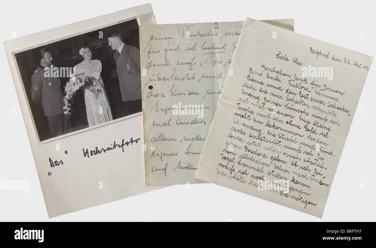 Eva and Gretel Braun., A hand-written three page letter from Eva to her elder sister Ilse (1909 - 1979) on double - Stock Image