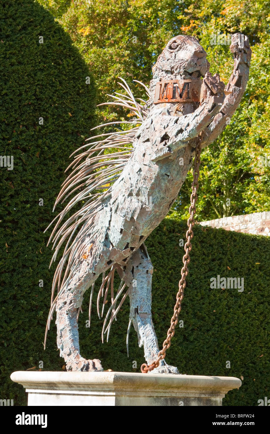 Statue of a Porcupine in Penshurst Place Gardens - Stock Image