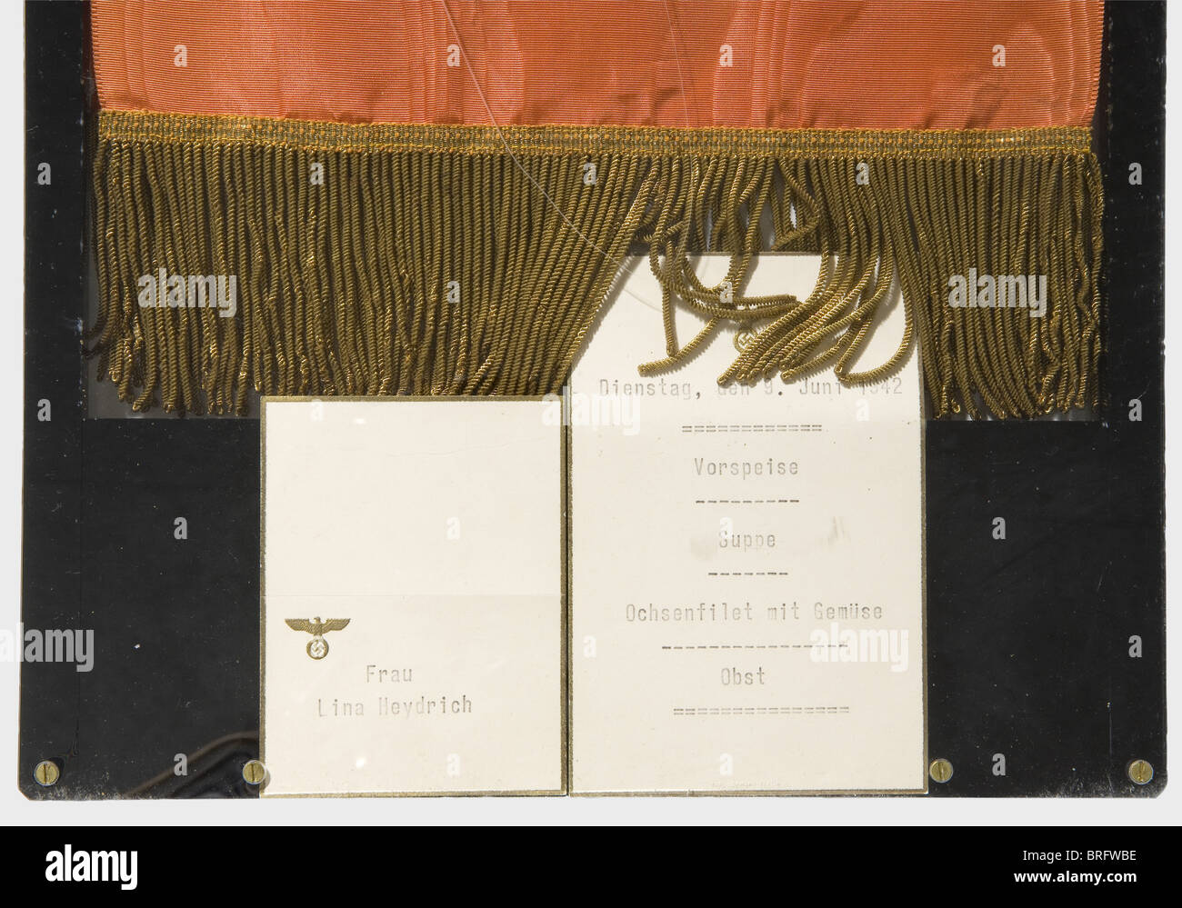 Adolf Hitler - a wreath ribbon for the funeral ceremonies for Reinhard Heydrich, on 9 June 1942 at the Mosaic Hall - Stock Image