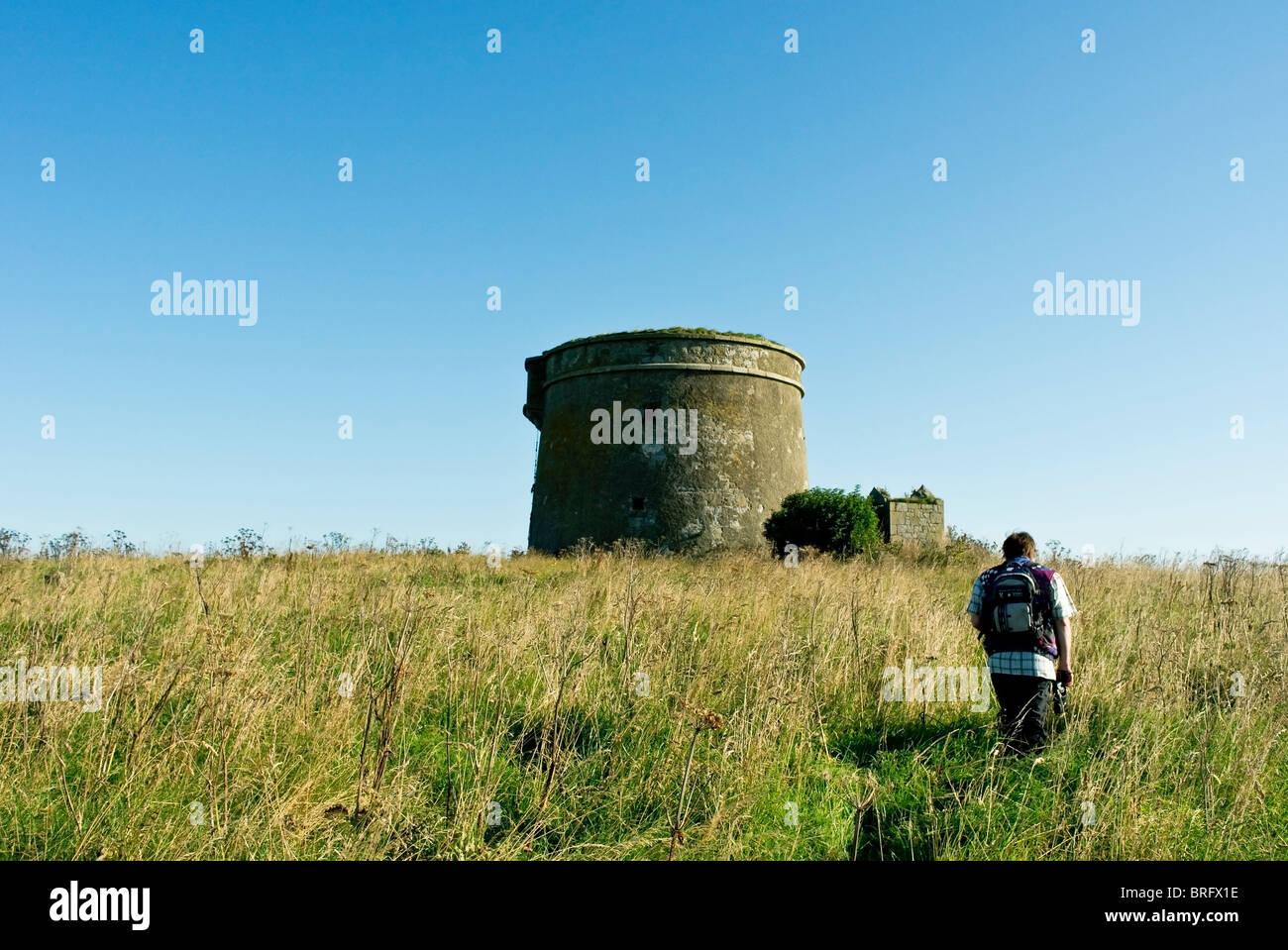 The Napoleonic era defensive Martello Tower built on Shenick Island, Skerries, Co.Dublin, Ireland - Stock Image