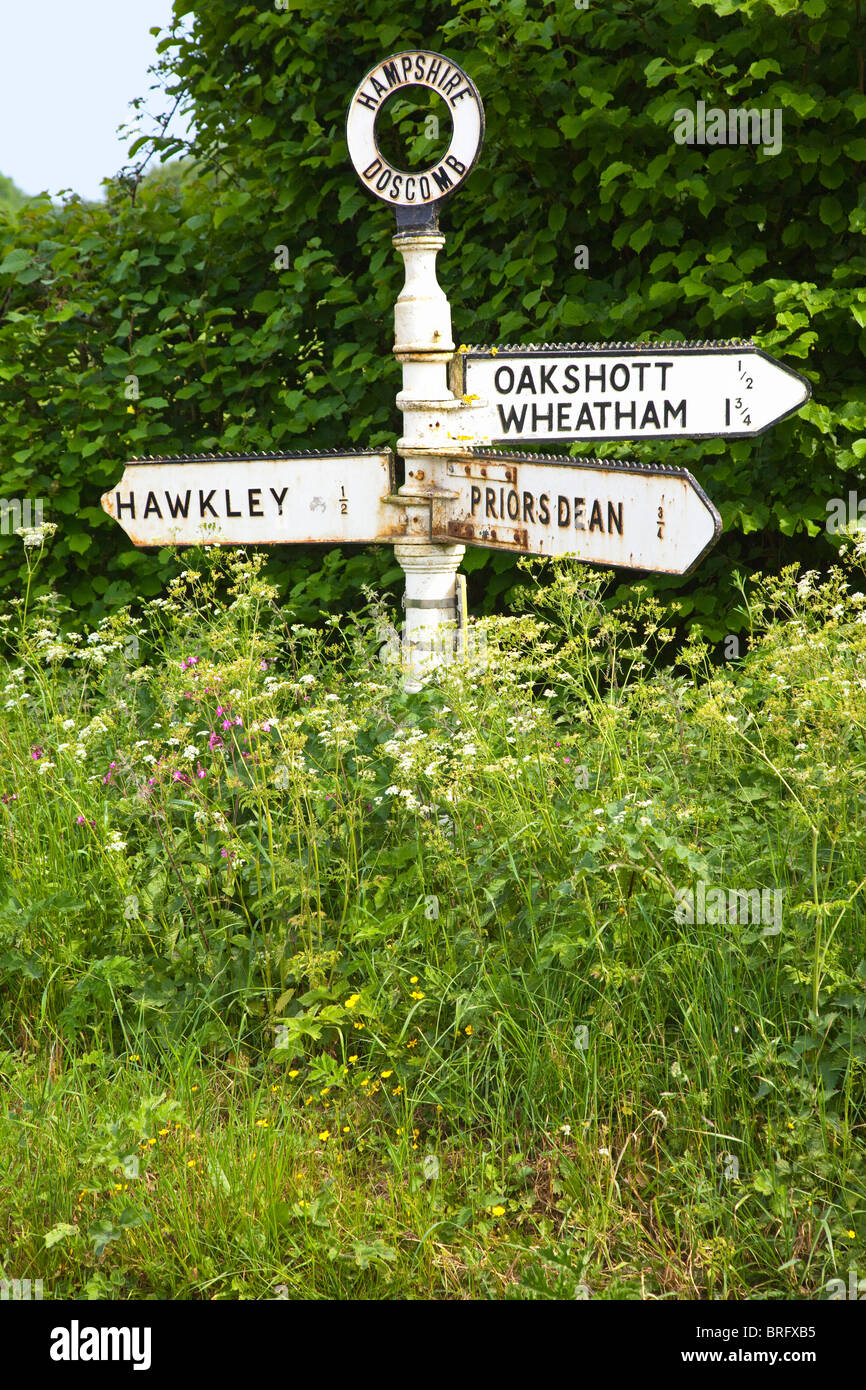 A signpost among wild flowers in the English countryside in summer Hampshire UK. - Stock Image